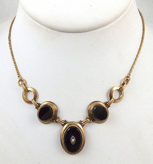 Misc. Signed A-F - Curtis Creations (Curtman) Onyx Necklace