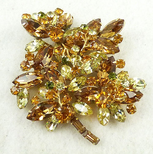 Vendome - Vendome Topaz & Yellow Rhinestone Leaves Brooch