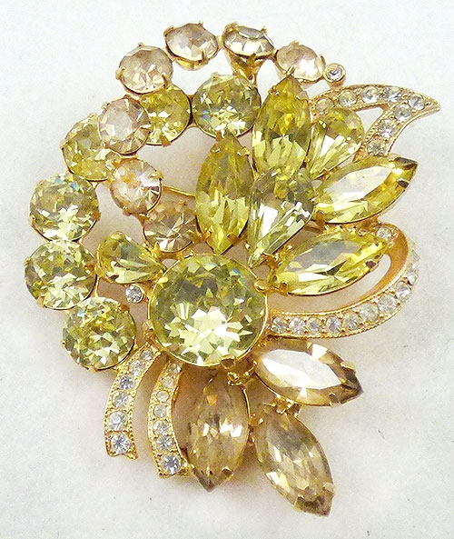 Newly Added Eisenberg Ice Yellow Rhinestone Brooch