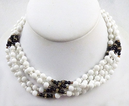 Necklaces - White and Glass Bead 5-Strand Necklace