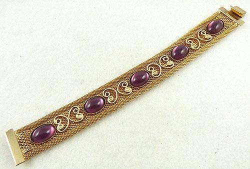 Newly Added Gold Mesh Amethyst Cabochon Bracelet