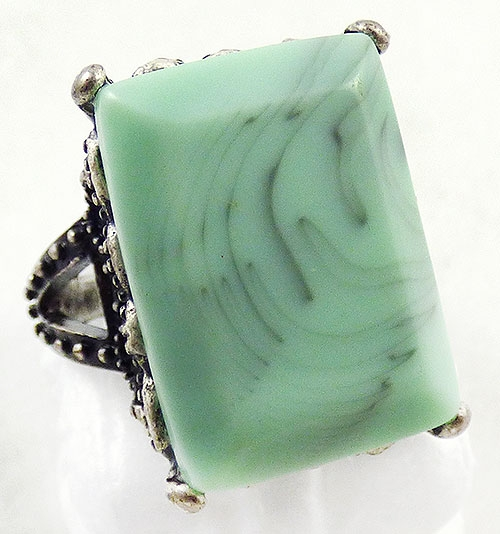 Newly Added Mint Green Rectangular Fashion Ring