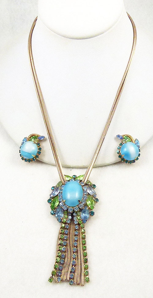 Newly Added DeLizza and Elster Aqua Cabochon Necklace Set