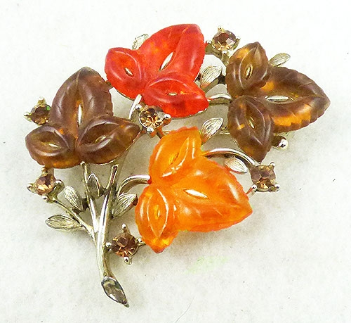 Lisner - Lisner Lucite Leaves Brooch