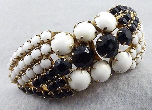 Bracelets - Black & White Rhinestone Clamper Bracelet