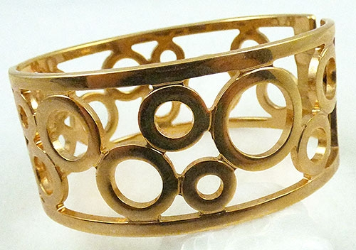 Newly Added Cold Tone Circles Hinged Bangle Bracelet