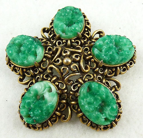 Hollycraft - Hollycraft Jade Glass Brooch