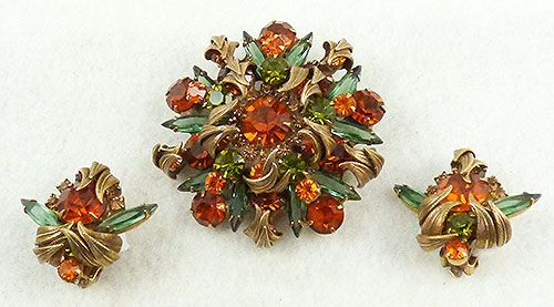 Autumn Fall Colors Jewelry - Delizza and Elster Venus Flames Brooch Set