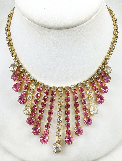 Spring Pastel Jewelry - Pink and Clear Rhinestone Waterfall Necklace