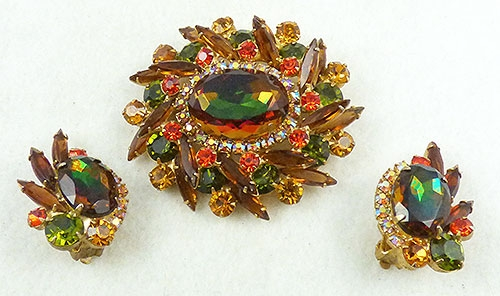 Autumn Fall Colors Jewelry - DeLizza and Elster Green Watermelon Brooch Set