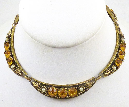 Autumn Fall Colors Jewelry - Topaz Rhinestone Scalloped Collar Necklace