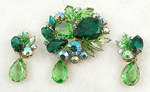 Newly Added Green Rhinestone Brooch Earring Set
