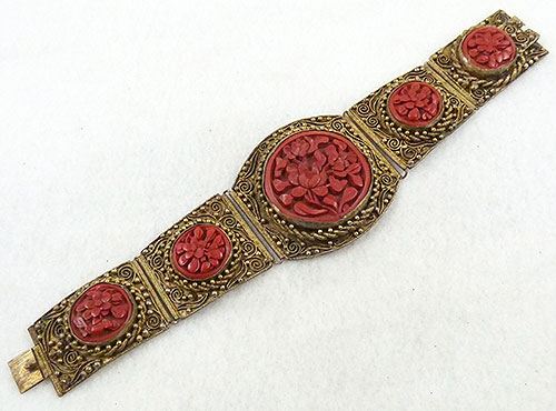 China - Chinese Export Filigree Cinnabar Bracelet