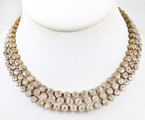 Newly Added Czech Triple Rhinestone Row Necklace