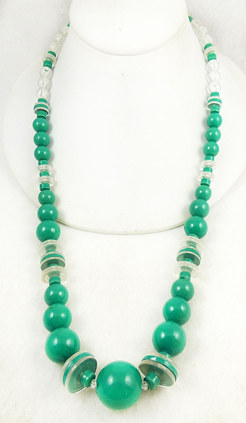 Newly Added Green and Clear Lucite Bead Necklace