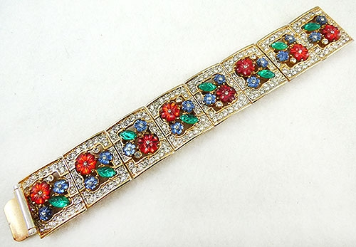 Newly Added Gem-Craft Fruit Salad Rhinestone Panel Bracelet