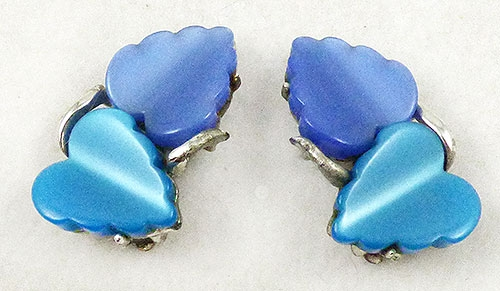 Coro/Corocraft - Coro Blue and Teal Double Leaves Earrings