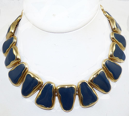 Newly Added Navy Enamel Gold Triangle Link Necklace
