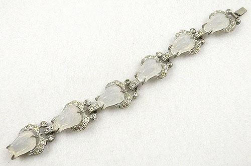 Newly Added Art Deco Molded Tulip Rhinestone Bracelet