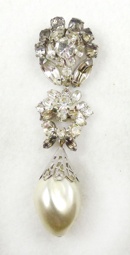 Newly Added Kandell & Marcus Rhinestine & Pearl Brooch