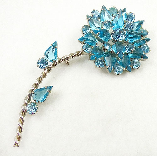 Brooches - Aqua Rhinestone Flower Brooch