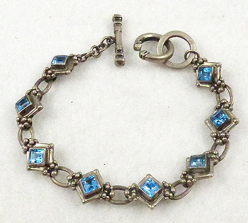 Native American - Juan Willie Navajo Blue Topaz Sterling Bracelet
