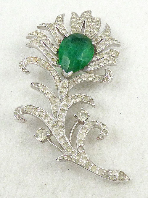 Newly Added Polcini Rhinestone Floral Brooch