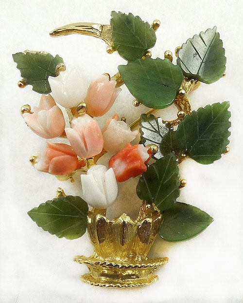 Newly Added Swoboda Coral Tulips Brooch