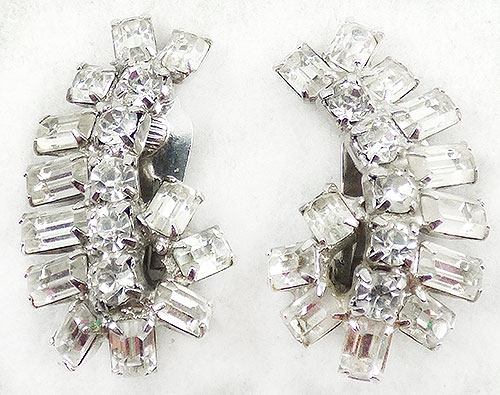 Newly Added Clear Rhinestone Baguette Curl Earrings