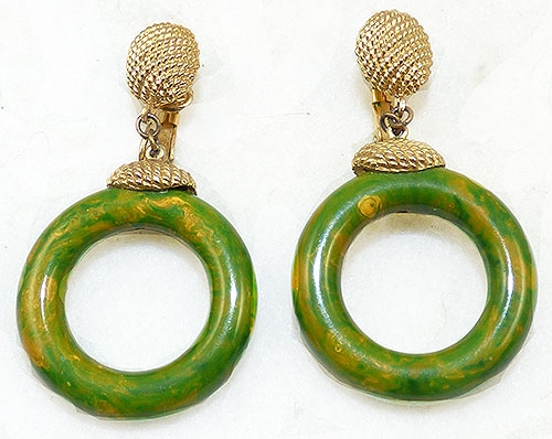 Bakelite, Celluloid, Galalith - Marvella Green Bakelite Hoop Earrings