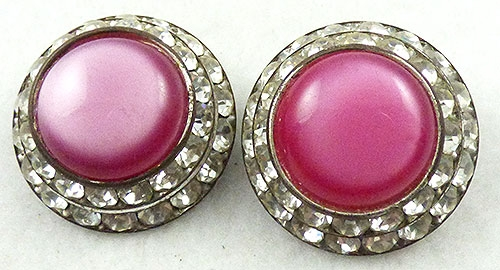 Newly Added Pink Moonglow and Rhinestone Earrings