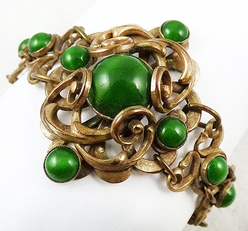 Newly Added Arts & Crafts Green Cabochon Bracelet
