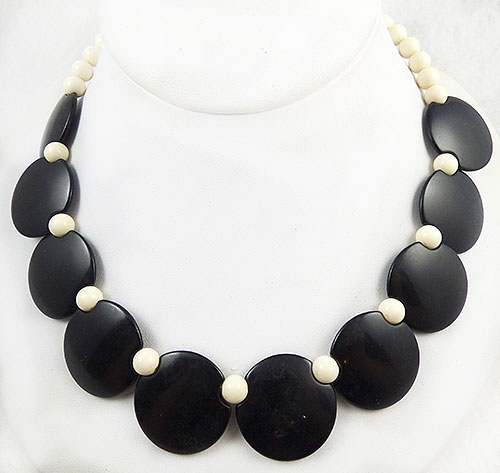 France - French Galalith Black Disc White Bead Necklace