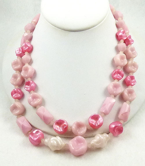 Newly Added German Pink Bead Double Strand Necklace
