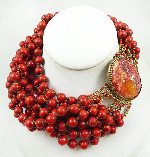 Colors for Fall-Winter 2018-2019 - Ornella Italy Red Beads Torsade Necklace