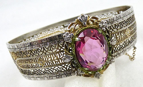 Newly Added Plainville Stock Art Deco Fligree Pink Glass Bracelet