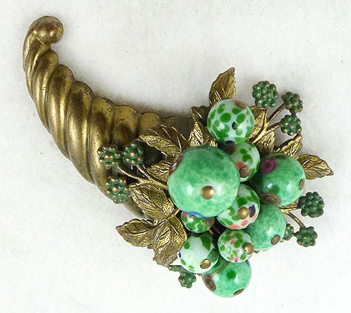 Newly Added Green Art Glass Bead Cornucopia Brooch