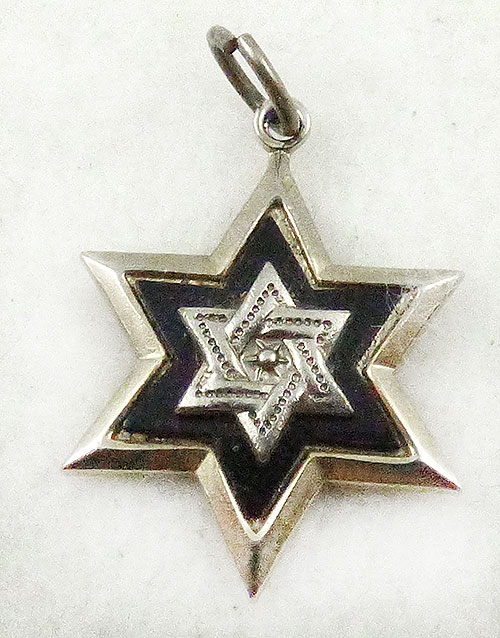 Newly Added Black Enamel Silver Star of David