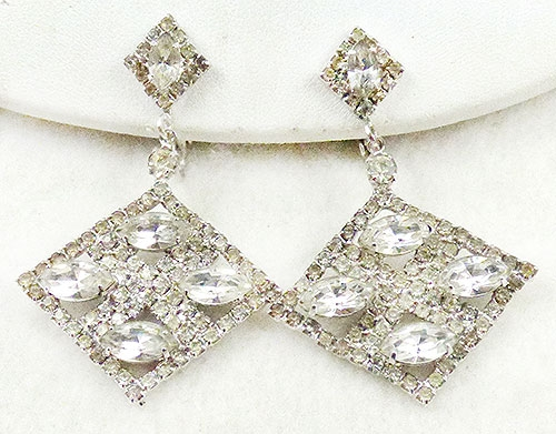 Newly Added Crystal Rhinestone Rhombus Dangling Earrings