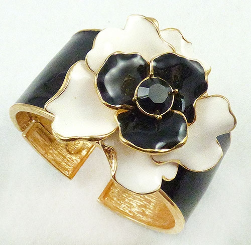 Lane, Kenneth J. - K.J.L. Black and White Enamel Flower Cuff Bracelet