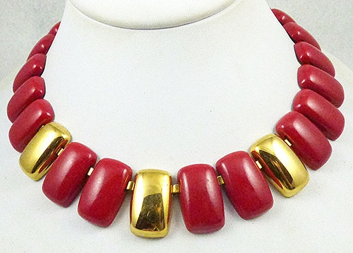 Newly Added Napier Red and Brass Link Necklace