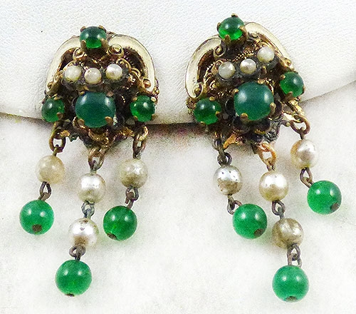 Germany - West Germany Green Bead and Pearl Earrings