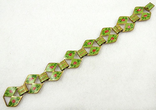 Florals - Green Enamel and Red Roses Bracelet