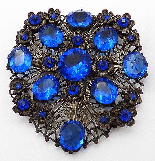 Newly Added Czech Blue Rhinestone Filigree Dress Clip