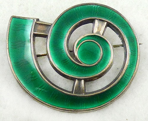 Newly Added J Tostrup Green Enamel Spiral Shell Brooch