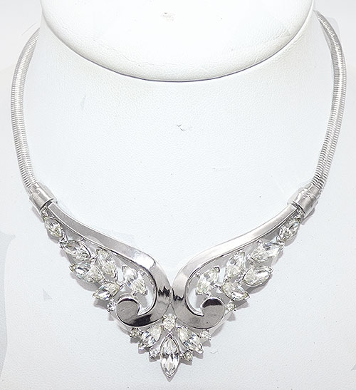 Trifari - Trifari Rhinestone Scroll Necklace