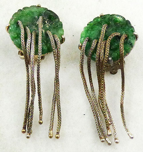Ciner - Ciner Molded Green Glass Earrings