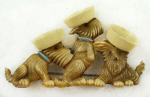 Figural Jewelry - Animals - Japan Celluloid Scottie Sailors Brooch