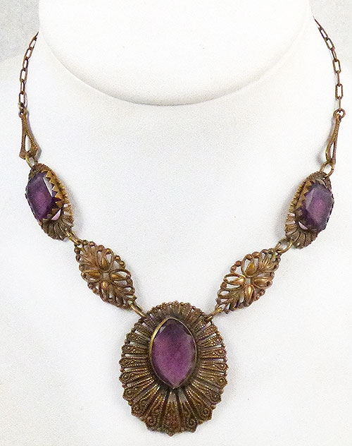 Newly Added Czech Brass and Amethyst Glass Necklace