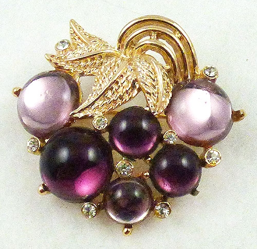 Fruits & Vegetables - Amethyst Cabochon Grapes Brooch